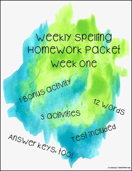 5th Grade Weekly Spelling Homework Packet: ONE