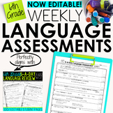 6th Grade Weekly Language Assessments Grammar Quizzes Editable