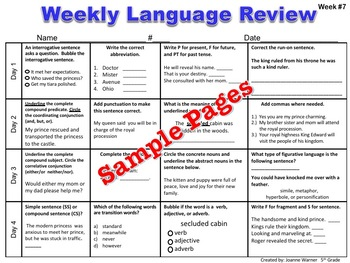 5th Grade Weekly Language Review Editable