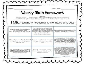 5th Grade Weekly Math Homework Bundle