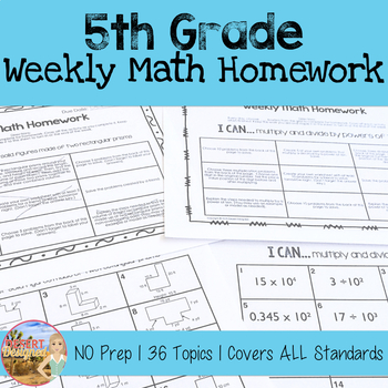 5th Grade Weekly Math Homework Year-Long Set by Desert Designed | TpT