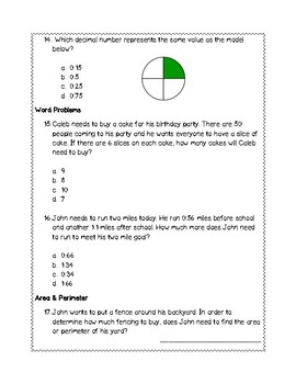 5th Grade Weekly Math SOL Review #4