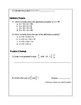 5th Grade Weekly Math SOL Review #5