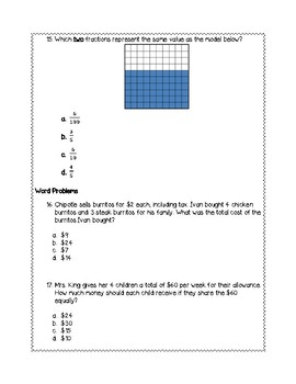5th Grade Weekly Math SOL Review #7