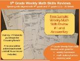 5th Grade Weekly Skills Review #1