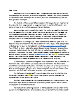 5th Grade Welcome Letter
