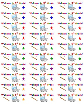 Back to School 5th Grade Welcome Stickers