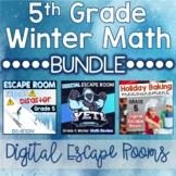 5th Grade Winter Digital Escape Rooms Math Review DISTANCE