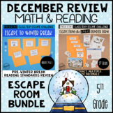 5th Grade Winter Escape Room | Reading and Math Review Game