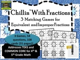 5th Grade Winter Fraction Games-- Equivalent, Improper (TEKS, Common Core)*ZIP