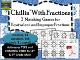 5th Grade Winter Fraction Games-- Equivalent, Improper (TEKS, Common Core)*PDF