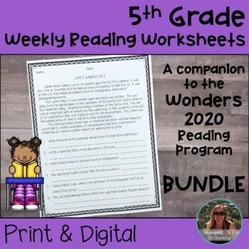 5th Grade Wonders 2020 Weekly Reading Worksheets Bundle