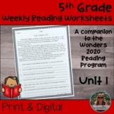 5th Grade Wonders 2020 Weekly Reading Worksheets Unit 1 Print & Digital