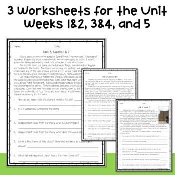 5th Grade Wonders 2020 Weekly Reading Worksheets Unit 3