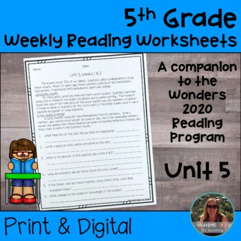 5th Grade Wonders 2020 Weekly Reading Worksheets Unit 5