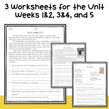 5th Grade Wonders 2020 Weekly Reading Worksheets Unit 6