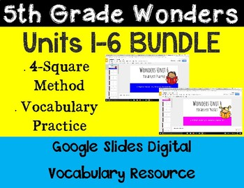 5th Grade Wonders Digital Vocabulary BUNDLE for Google Classroom