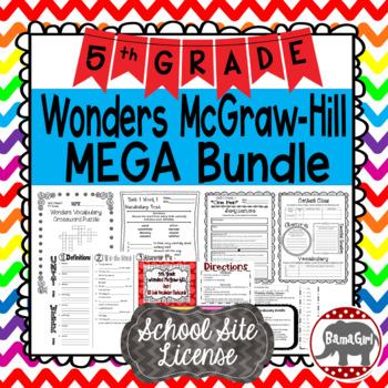 5th Grade Wonders McGraw Hill Reading *** MEGA Bundle *** SCHOOL SITE LICENSE