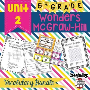 5th Grade Wonders McGraw Hill Reading *** Unit 2 Vocabulary Bundle ***