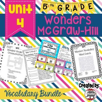 5th Grade Wonders McGraw Hill Reading *** Unit 4 Vocabulary Bundle ***