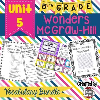 5th Grade Wonders McGraw Hill Reading *** Unit 5 Vocabulary Bundle ***