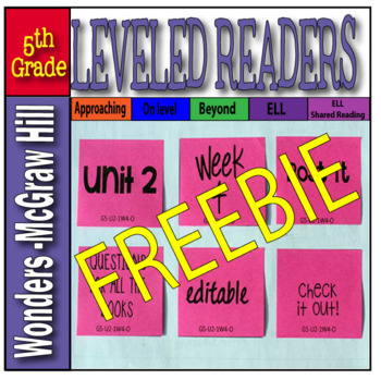 McGraw-Hill 5th Grade Wonders Post-its, Unit 2, week 4