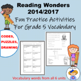 5th Grade Wonders Reading Vocabulary Practice Activities a