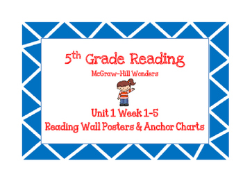 5th Grade Wonders Reading Wall Posters Unit 1