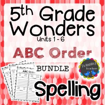 5th Grade Wonders Spelling - ABC Order BUNDLE