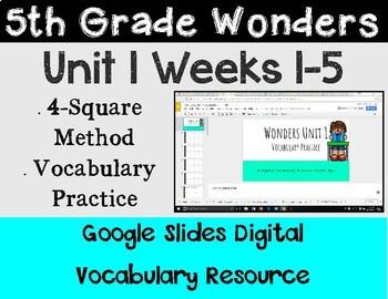 5th Grade Wonders Unit 1 Digital Vocabulary for Google Classroom