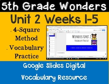 5th Grade Wonders Unit 2 Digital Vocabulary for Google Classroom