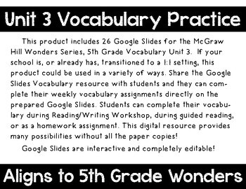 5th Grade Wonders Unit 3 Digital Vocabulary for Google Classroom