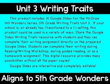 5th Grade Wonders Unit 3 Digital Writing Traits for Google Classroom