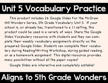 5th Grade Wonders Unit 5 Digital Vocabulary for Google Classroom