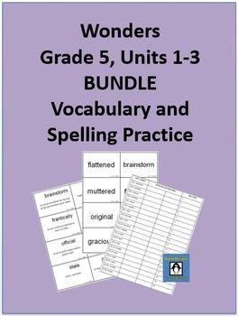 5th Grade Wonders - Units 1-3 BUNDLE Spelling and Vocabula