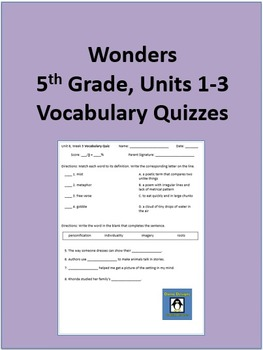 5th Grade Wonders - Units 1-3 Vocabulary Quizzes