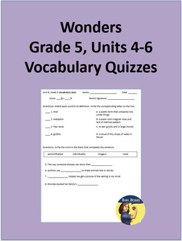 5th Grade Wonders - Units 4-6 Vocabulary Quizzes