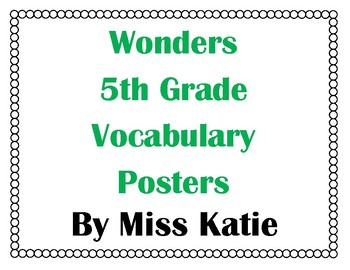 5th Grade Wonders Vocabulary Posters