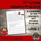 5th Grade Wonders 2017 Weekly Reading Worksheets Unit 1 Print & Digital