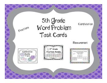 5th Grade Math Word Problem Task Cards 56 Set Mega {Growing} Bundle