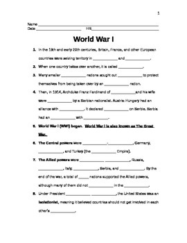 5th Grade World War I Note Sheet