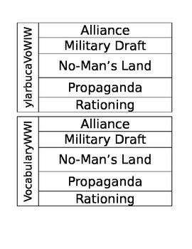 5th Grade World War I Vocabulary