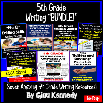 5th Grade Writing BUNDLE, Expository, Narratives, Prompts, Editing and More!