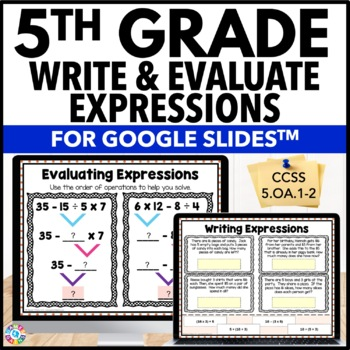 5th Grade Writing & Evaluating Expressions, Order of Operations {5.OA.1, 5.OA.2}