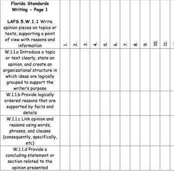 5th Grade Writing Florida Standards Checklist