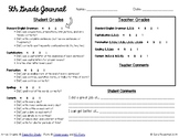 5th Grade Writing Journal Grading Sheet - NEW!