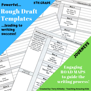 """5th Grade:  Writing Mastery with """"Rough Draft"""" Templates (Journeys)"""