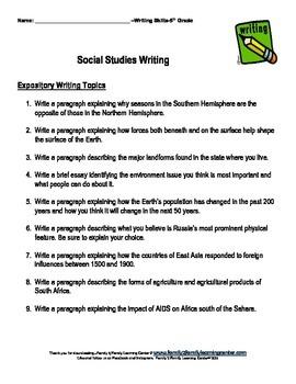 5th Grade Writing Topics