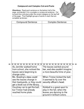 5th Grade Grammar Worksheet & KEY - Compound and Complex Sentences Cut and Paste