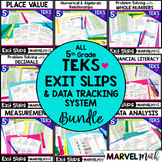 5th Grade Year-Long Exit Slips Bundle *All Math TEKS*